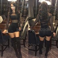 New Sexy Women Jumpsuit Mesh Lace Long Sleeve Bodycon Short Rompers Bodysuit