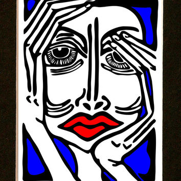 Modern Living Room Art Print - Female Figurative Art - Red -  Blue - Black & White