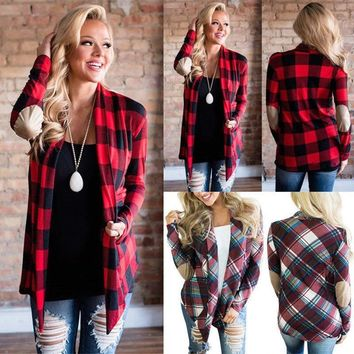 Fashion Outfit Women's Casual Soft Plaid Check Detachable Hood Flannel Shirt Top