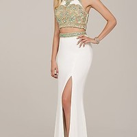 Two Piece Long High Neck Jovani Prom Dress