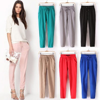 Women Fashion Casual Chffion Pants Solid Color Elastic Waist Comfy Full Length Trousers Pants = 1958094020