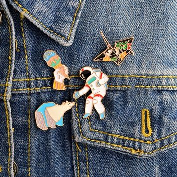 Jacket Denim Collar Pin Badge Buckle  Ice Cream Astronaut Gift for Children Shirt Paper Crane Bear Brooch Jewelry