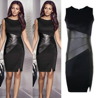Sexy Celeb Ladies Black OL Work Bodycon Sleeveless Dress Free Shipping