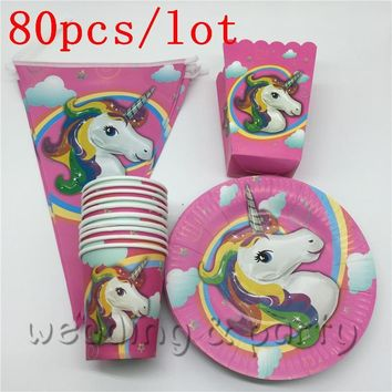 80PCS Unicorn Theme Kids Favors Tablecloth Happy Birthday Party moana Decoration Paper Plates moana Cups Baby Shower Supplies