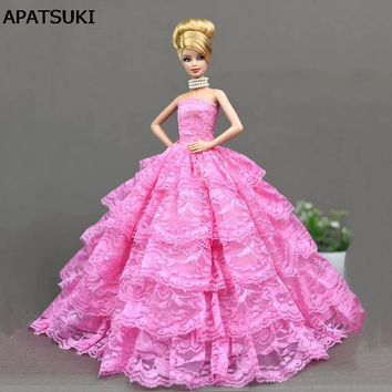 Pink Lace Wedding Dress for Barbie Doll Princess Evening Party Wears Dress Clothes Outfits For 1/6 Doll Accessories