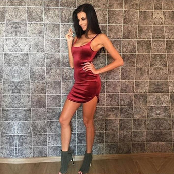 2017 Spring Summer Wine Red Dress Sleeveless Bodycon Sheath Velvet Women Dress Spaghetti Strap Sexy Club Party Dresses