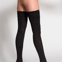 rsaskth5 - Chain-Link Solid Thigh-High Socks
