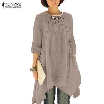 Women's Oversized Winter O-Neck Long Sleeve Asymmetrical Hem Tunic.    In Sizes From Small to 5XL.    Available in Many Different Colors.   ***FREE SHIPPING***