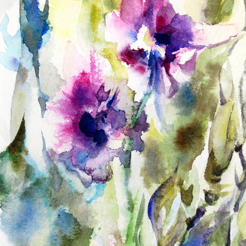 Abstract Floral Watercolor Art Print 12x18, Purple Green Flowers Modern Wall Art