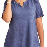 Terra & Sky   Plus 4X  Split V-Neck Shirt Tee Blue