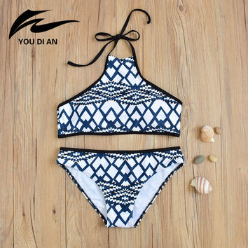 2017 Sexy High Neck Swimwear Geometric Women Swimsuit Brazilian Bikini Bandage Beach Wear Bathing Suit Bikinis Set Femme