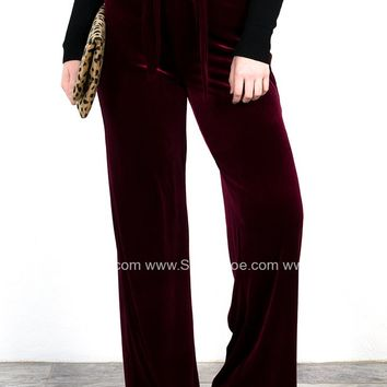 Velvet Crush Holiday Pants | Wine