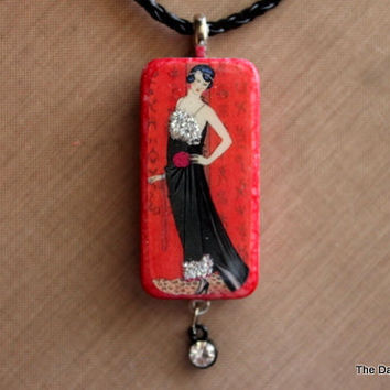 Vintage Lady Altered Art Domino Necklace