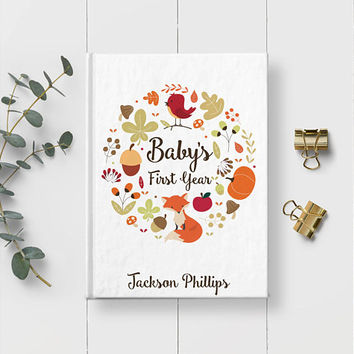 Baby's First Year, Writing Journal, Personalized Baby Book, Newborn Gift, Baby Keepsake, Baby Boy Gift, Memory Book, Baby shower Gift