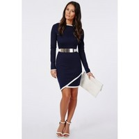Missguided - Hoshi Long Sleeve Asymmetric Bodycon Dress Navy
