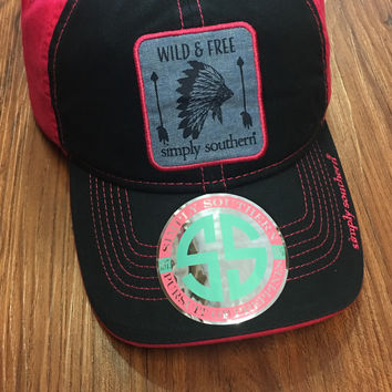 """Simply Southern """"Wild &Free"""" Hat -Navy"""