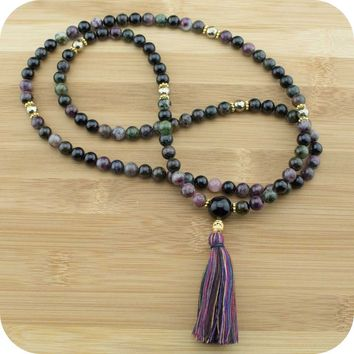 Multi-Colored Tourmaline Mala with Golden Hematite