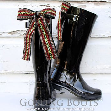 NEW Custom Black Gloss Boho Rain Boots with Bows