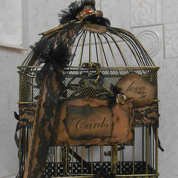 Birdcage Wedding Card Holder / Shabby Wedding / Vintage Inspired Wedding / Cardholder / Birdcage / Wedding Birdcage Cardholder / Card Box
