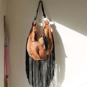 Large black & brown hobo bag distressed leather slouchy asymmetrical pocket  handmade african tribal tribe hobo boho bohemian sweet smoke