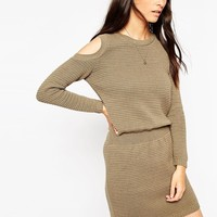 ASOS Jumper Dress With Elasticated Waistband and Cold Shoulder at asos.com