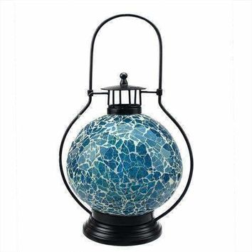 "12"" Decorative Aqua Blue and White Mosaic Glass Tea Light Candle Holder Doom Lantern"