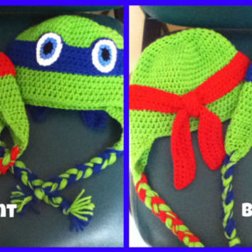 TMNT crochet hat with earflaps and braids, realistic looking, tie back, Newborn to adult sizes available.