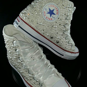 Bridal Converse- Wedding Converse- Bling   Pearls Custom Convers de6d507197