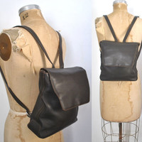 Backpack Bookbag Purse / Chocolate Brown Pebbled Leather