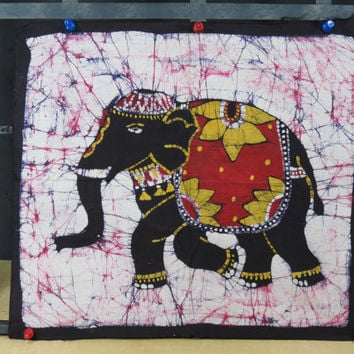 Batik Elephant Cotton Panel • Black Yellow & Red • India • Wax Dyed Batik • Bright Colors • Authentic Batik