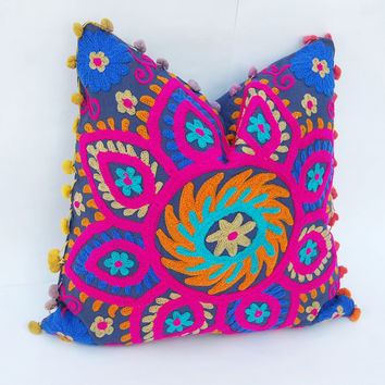 Beautiful Multicolored Handmade Wool Embroidered Indian Pillow Cases Suzani Cushion Cover Decorative Pillow Case Traditional Turkish Designs