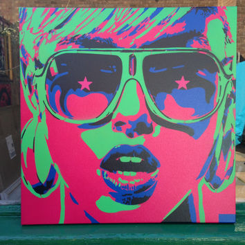 Pop art woman painting,canvas,stencil art,spray paint art,sunglasses,stars,earings,abstract,portrait,girl,her,home living,artwork,design