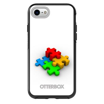 DistinctInk™ OtterBox Symmetry Series Case for Apple iPhone or Samsung Galaxy - Red Blue Yellow 3D Puzzle Pieces