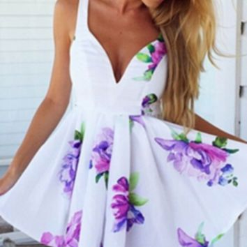Lush Lilac White Purple Green Floral Sleeveless V Neck Skater Circle A Line Flare Mini Dress