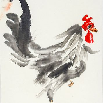 Watercolor Rooster Painting