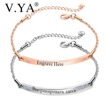 V.YA Fashion Customized Bracelets For Women Stainless Steel Engraved Bracelets Rose Gold/ Gold Personalized Bangle For Friends