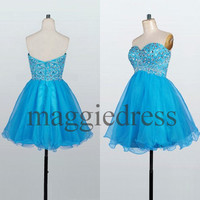 Custom Blue Crystals Short Prom Dresess Evening Dresees Formal Party Dresses Wedding Party Dress Homecoming Dresses Cocktail Dresses