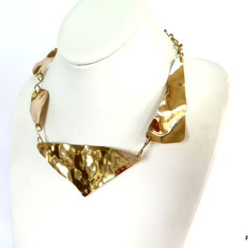 Asymmetric Gold Necklace, Artisan Hammered Brass Neck Piece, Gift for her