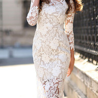 White Three Quarter Length Sleeve Lace Sheath Dress