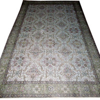 Sale Light Blue-Grey Overdyed Handmade Rug  with Allover Design  9'4'' x 5'7'' feet