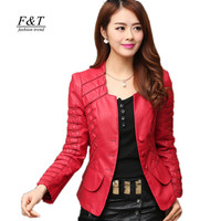 2016 New Fashion Spring Autumn Women Faux Soft Leather Jacket Pu Black Wine Red Zippers Pachwork Long Sleeve Motorcycle Coat
