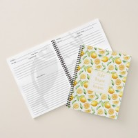 Watercolor Lemons and Leaves Recipe Book #2