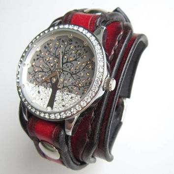 Black and Red Watch, Wrist Watch, Ladies Watch, Woman Watch, Vintage Watch, Red Leather Watch, Bracelet Watch