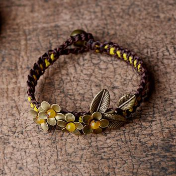 Ethnic bangle bracelet for women bronze flower yellow stone copper bell wrap chain vintage jewelry fashion 2017 new arrival