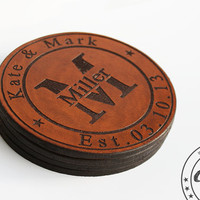 Gifts for couples,House Warming gift,Engagement gifts for couple,3rd Anniversary,Leather Anniversary,Personalized Leather Coasters Set