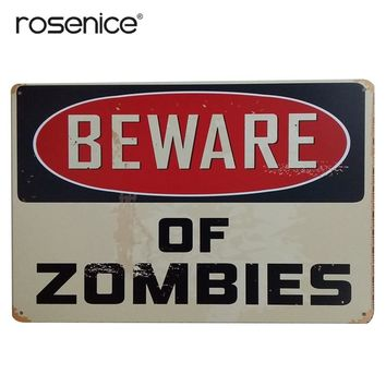 BEWARE OF ZOMBIES Garage Vintage Wall Decorative Signs Tin Metal Iron Car Sign Painting For Wall Home Bar Coffee Shop