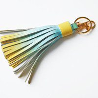 READY TO SHIP Leather Bag Charm Tassel Keychain Tassel Key Ring With Clasp Gold Accessorie For Bag Tassel Charm Ombre Blue