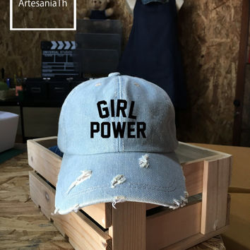 Girl Power hat - GRL PWR hat , Denim Cap, Jean Cap, Feminist , Feminism , Wonder Woman Tumblr hat , Low-Profile Baseball Cap Hat