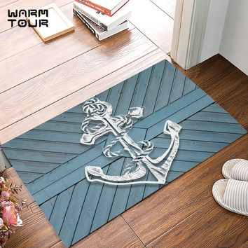 Autumn Fall welcome door mat doormat Blue Rustic Wood Board White Anchor s Kitchen Floor Bath Entrance Rug Mat Absorbent Indoor Bathroom Decor s AT_76_7