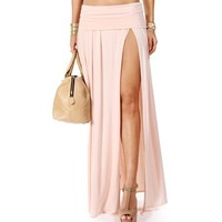 Blush High Slit Maxi Skirt